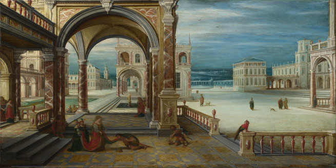 Hendrick van Steenwyck the Younger: 'The Courtyard of a Renaissance Palace'
