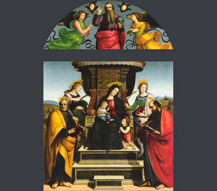 Raphael, The Madonna and Child Enthroned with Saints (The Colonna Altarpiece), about 1504