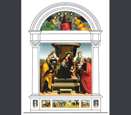 Reconstruction of Raphael's Sant'Antonio di Padova altarpiece