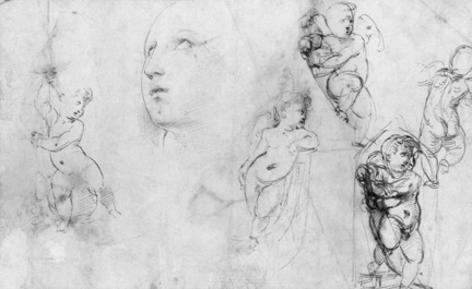 Sketch of head for Raphael, Saint Catherine