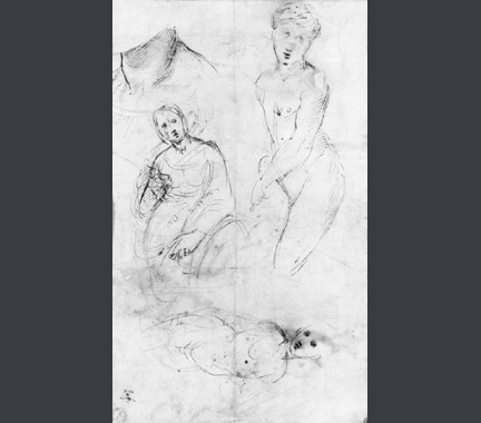Sketch of three-quarter length composition for Raphael, Saint Catherine