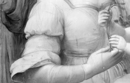 Detail from IRR of Raphael, The Madonna of the Pinks
