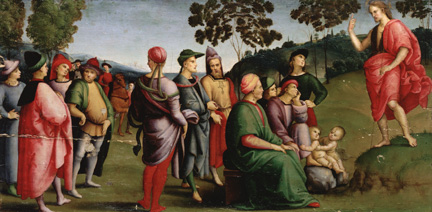 After cleaning, Raphael, Saint John the Baptist Preaching, 1505