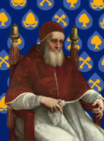 Reconstruction from Raphael, Portrait of Pope Julius II