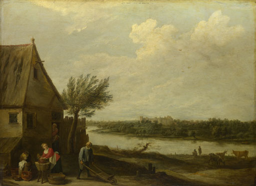 David Teniers the Younger: 'A Cottage by a River with a Distant View of a Castle'