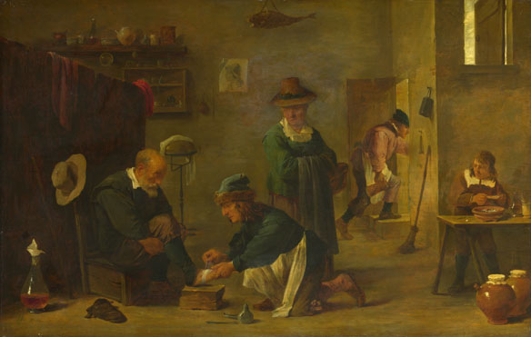 Imitator of David Teniers the Younger: 'A Doctor tending a Patient's Foot in his Surgery'