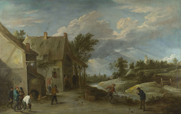 David Teniers the Younger: 'Peasants playing Bowls outside a Village Inn'