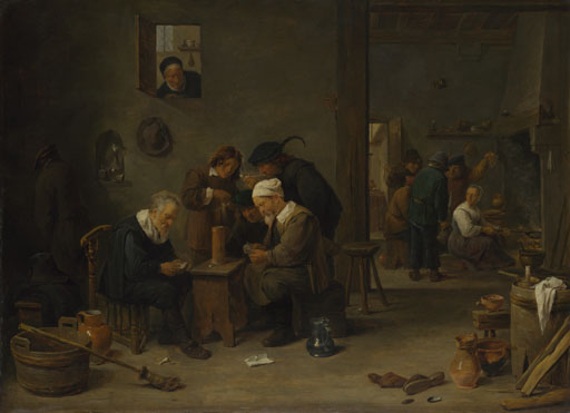 David Teniers the Younger: 'Two Men playing Cards in the Kitchen of an Inn'