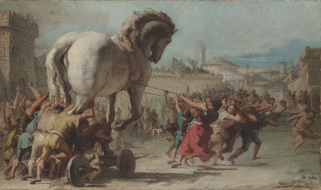 Giovanni Domenico Tiepolo: 'The Procession of the Trojan Horse into Troy'
