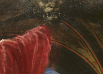 Titian: Detail of lion's head in vault from 'Diana and Actaeon'.