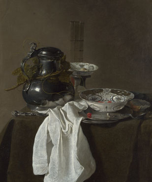Jan Jansz. Treck: 'Still Life with a Pewter Flagon and Two Ming Bowls'
