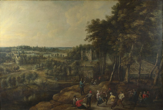 Lucas van Uden: 'Peasants merry-making before a Country House'