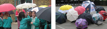 pupils experimenting with umbrellas in the playground