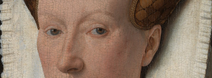Detail of the eyes from 'Margaret, the Artist's Wife' painting by Jan van Eyck, 1439, after cleaning and restoration