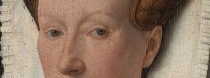 Detail eyes from 'Margaret, the Artist's Wife' painting by Jan van Eyck, 1439, after cleaning before restoration