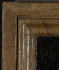 Detail from the upper-right corner of 'Margaret, the Artist's Wife' painting by Jan van Eyck, 1439
