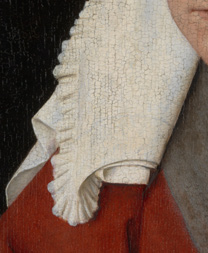 Detail from 'Margaret, the Artist's Wife' painting by Jan van Eyck, 1439, after cleaning and restoration