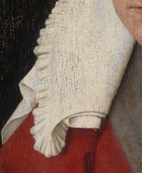 Detail from 'Margaret, the Artist's Wife' painting by Jan van Eyck, 1439, after cleaning before restoration