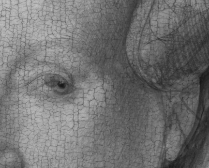 Detail  - eye- from digital infrared reflectogram from 'Margaret, the Artist's Wife' painting by Jan van Eyck, 1439