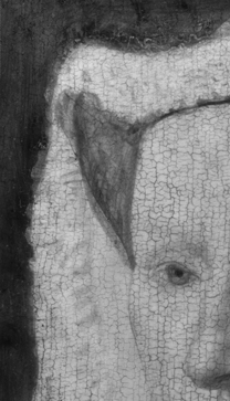 Jan van Eyck: 'Margaret, the Artist's Wife', 1439, digital infrared reflectogram detail