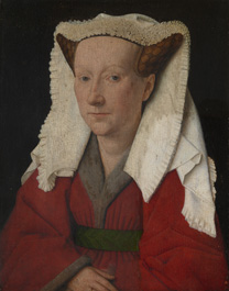 'Margaret, the Artist's Wife' by Jan van Eyck, 1439, during cleaning