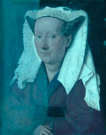 'Margaret, the Artist's Wife' by Jan van Eyck, 1439, during cleaning - ultraviolet fluorescence photograph