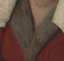 Jan van Eyck: 'Margaret, the Artist's Wife', 1439, detail before cleaning
