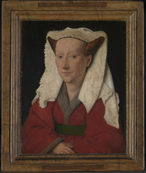 Photograph of 'Margaret, the Artist's Wife' painting by Jan van Eyck, 1439, before cleaning