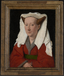 Photograph of 'Margaret, the Artist's Wife' painting by Jan van Eyck, 1439, after cleaning