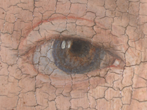 Jan van Eyck: 'Margaret, the Artist's Wife', 1439, photomicrograph of her right eye