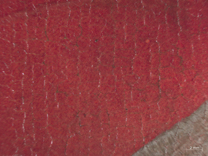 Jan van Eyck: 'Margaret, the Artist's Wife', 1439, photomicrograph showing the blotted glaze on the red dress