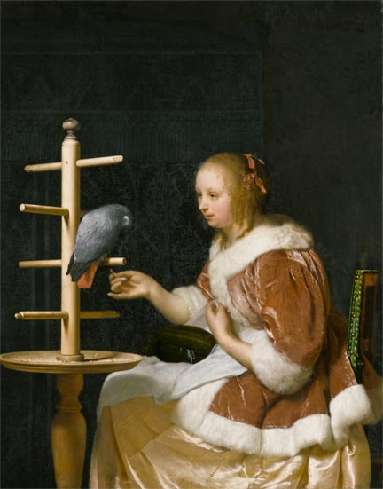 Frans van Mieris the Elder, A Young Woman feeding a Parrot, 1663, Private Collection, New York