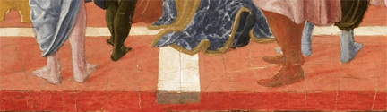 Studio of Lorenzo Vecchietta, possibly Francesco di Giorgio: Detail showing the edge of the pavement from 'Saint Bernardino Preaching'.