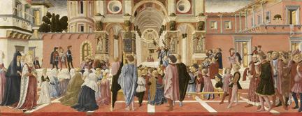 Studio of Lorenzo Vecchietta, possibly Francesco di Giorgio: 'Saint Bernardino Preaching'.