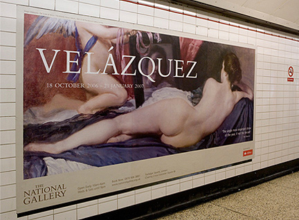 Velazquez poster on display in a tube station