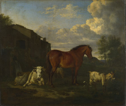 Adriaen van de Velde: 'Animals near a Building'