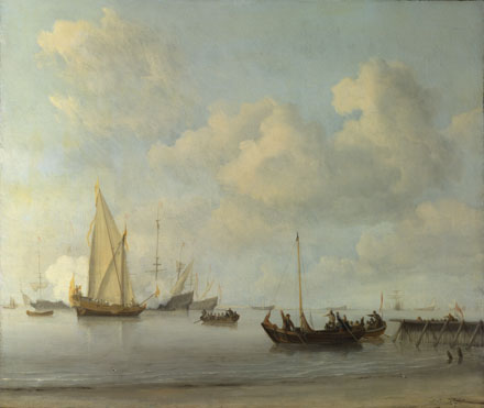 Willem van de Velde: 'Boats pulling out to a Yacht in a Calm'
