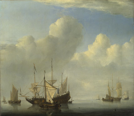 Willem van de Velde: 'A Dutch Ship coming to Anchor'