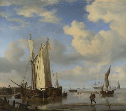 Willem van de Velde: 'Dutch Vessels Inshore and Men Bathing'