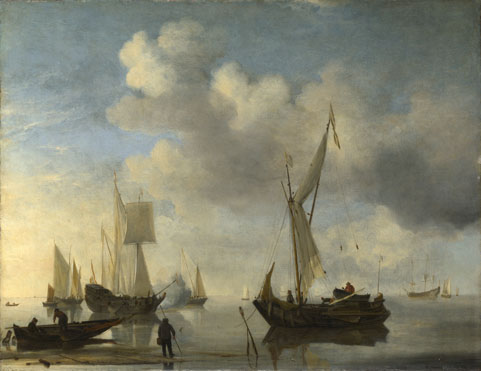 Willem van de Velde: 'Dutch Vessels lying Inshore in a Calm, one Saluting'