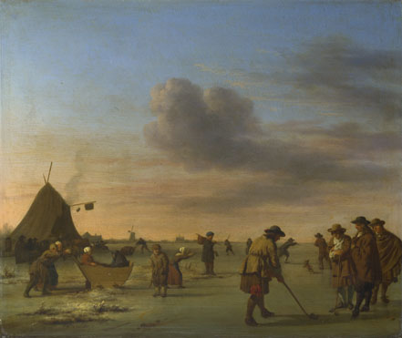 Adriaen van de Velde: 'Golfers on the Ice near Haarlem'