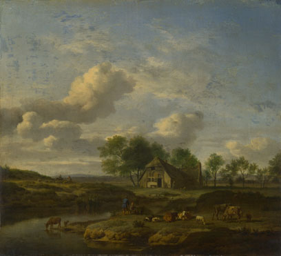 Adriaen van de Velde: 'A Landscape with a Farm by a Stream'