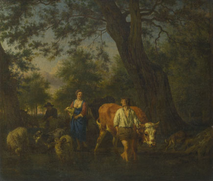 Adriaen van de Velde: 'Peasants with Cattle fording a Stream'
