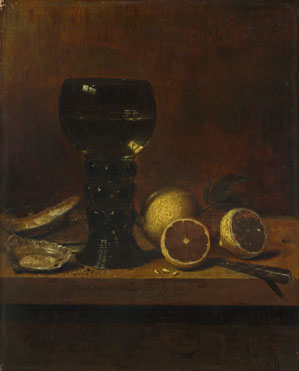 Jan van de Velde: 'Still Life: A Goblet of Wine, Oysters and Lemons'
