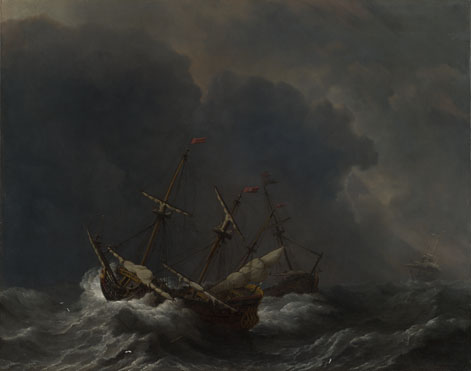 Willem van de Velde: 'Three Ships in a Gale'