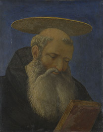 Domenico Veneziano: 'Head of a Tonsured, Bearded Saint'.