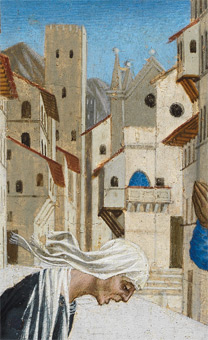 Domenico Veneziano: Detail of church in background from 'A Miracle of Saint Zenobius'.