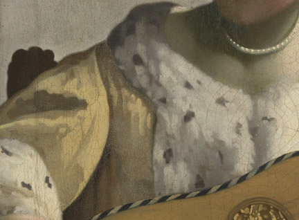 Detail from Vermeer, 'The Guitar Player', about 1672. On loan from English Heritage, The Iveagh Bequest (Kenwood) © English Heritage