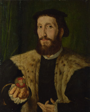 Style of Jan Cornelisz. Vermeyen: 'A Man holding a Coloured Medal'