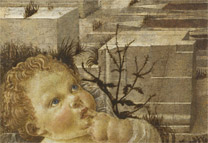 Andrea del Verrocchio: Detail of cornerstone above Christ from 'The Virgin adoring the Infant Christ ('The Ruskin Madonna').